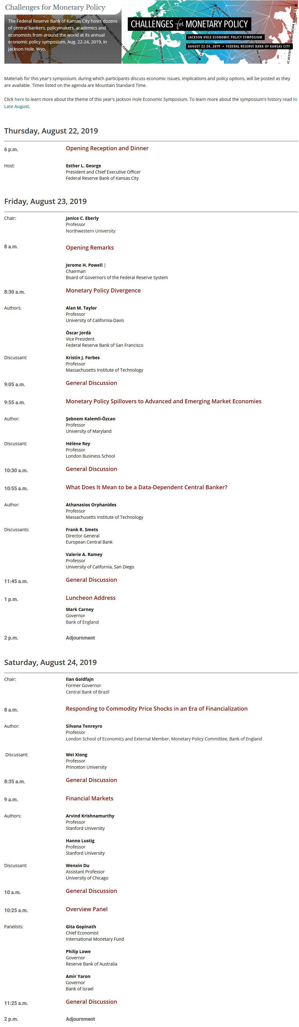 Agenda sympozjum w Jackosn Hole