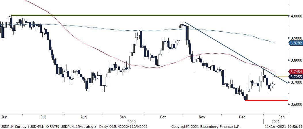 USD/PLN - wykres 1D; Źródło: Bloomberg