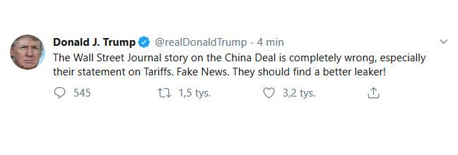 Trump: artykuł WSJ o umowie z Chinami jest całkowicie nieprawdziwy