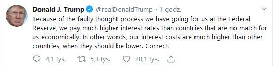 Trzy grosze od Trumpa ws. polityki Fed