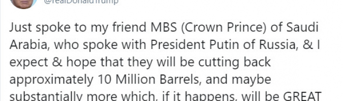 Trump winduje WTI w kierunku 25 USD za baryłkę