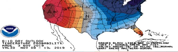 Prognozy odchylenia temperatur od historycznych norm. Źródło: NOAA, Bloomberg