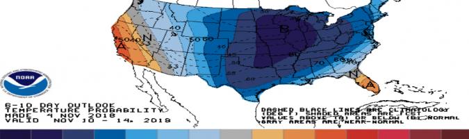 Prognozy temperatur dla USA w okresie 10-14 XI. Źródło: Bloomberg, NOAA